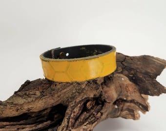 Honey Yellow Stackable Bracelets, Skinny Leather Cuff, Womens Yellow Leather Bracelet, Yellow Leather Cuff, Leather Wristband, Boho Cuff