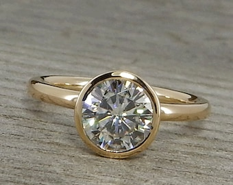 Moissanite Gold Engagement Ring - Forever One G-H-I Moissanite and Recycled 14k Yellow Gold - Polished, Stackable, Bezel Set - Made To Order