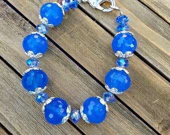 Chunky Blue Glass Bead Bracelet