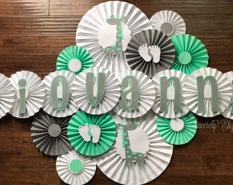 Girrafe Baby Shower Rosettes, Papwr Fans, Welcome Baby