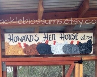 "11"" X 36"" #522 Personalized Whimsical Chicken Coop Sign"