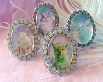 Rhinestone Spirit Animal Cameo Rings. Unicorn, Cat, Bunny, or Fox, Laser Cut Acrylic, Plastic Jewelry