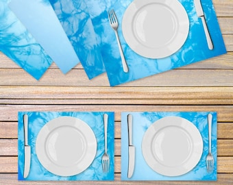 4 Turquoise placemats printed on Vinyl fabric - Blue Table linen - Wedding gift idea