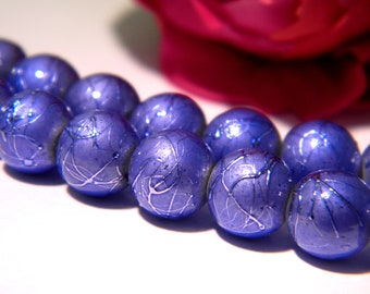 blue glass beads, glass bead 8 mm glass drawbench, 50 beads, wire, glass Pearl 3 H57