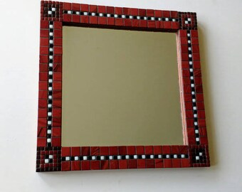Square wall mirror in a classic mosaic design
