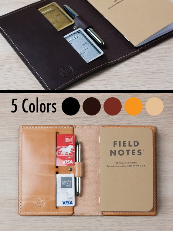 Field Notes Cover With Pen Holder   Wickett & Craig Full Grain Leather / Moleskine Cover / Moleskine Wallet / Pocket Notebook Cover / Fld4 by Etsy
