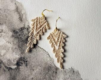 boho earrings, ivory lace earrings | SAZIA | lace earrings, geometric earrings, statement earrings, dangle earrings, modern earrings, gift