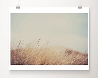 beach photography, beach grass photograph, beach house decor, nature photography, mint green, coastal print, English coast