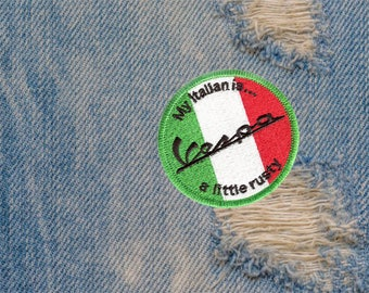 "Vintage Style Vespa Patch Badge ""My Italian is a little rusty"" 7cm Applique"