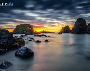 Elephant Rock Ballintoy Sunset Seascape Print - Northern Ireland County Antrim Photography - Ocean Sky Clouds - Photograph Photo - Wall Art