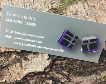 Scottish jewellery - tartan studs - square earrings