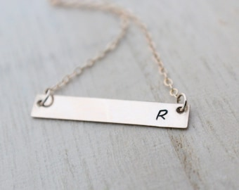 Gold Bar Initial Necklace , Dainty Layering Hand Stamped Necklace in Gold , Rose Gold , Sterling Silver , Name Monogram