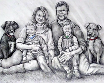16x20, 5-6 subject Age Progression family pencil portrait. Made to Order. Matting Included.