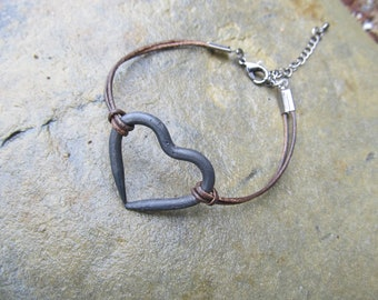 Hand Forged Heart Bracelet - Great Gift - FREE Gift Box - 11th Anniversary Gift