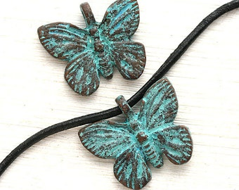 Butterfly charms, Butterflies beads, verdigris Patina on copper, Butterfly greek beads, for leather cord, Lead Free - 2Pc - F297