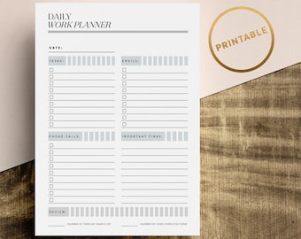 Daily Work Planner Printable | Work Day Planner Pages | Daily To Do List Inserts | Day Task List | A4 | A5 | US Letter | Instant Download