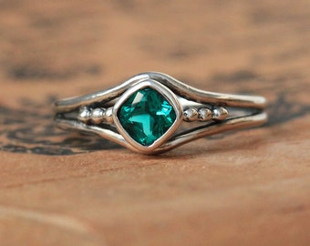 Emerald ring silver, emerald engagement ring, May birthstone ring created emerald promise ring for her organic unique ring, custom