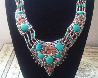 Vintage Moroccan Silver, Turquoise, and Coral Necklace