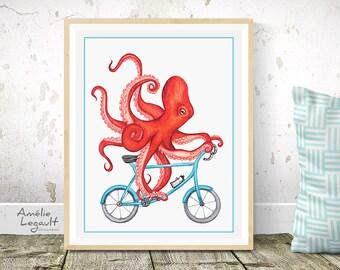 Affiche pieuvre à bicyclette, pieuvre à vélo, affiche pour enfant, 5 x 7 , 8 x 10 et 11 x 14