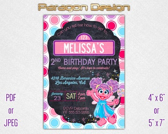 Street Sign - Birthday Invitation for Girl - blackboard, circles, abby, pink, purple, chalkboard - Personalized Printable Digital File 015