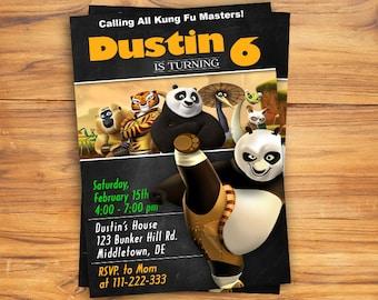 Kung fu panda invitation, Kung fu panda Birthday Invitation, Kung fu panda Party invitation,Birthday Invite