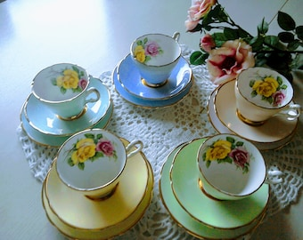 Beautiful harlequin floral china trio, 1960's cup saucer & plate,  6 available,