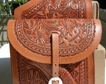 Hand Tooled Western Leather Saddle Bags