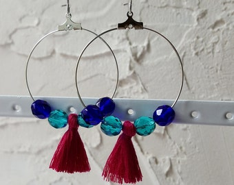 Hoop earrings blue beads and purple tassels