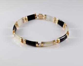 Vintage 10K Onyx and Mother of Pearl Link Bracelet