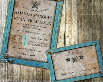 Rustic Wedding Invitation and RSVP - Rustic Turquoise Frame With Embellishments-Digital