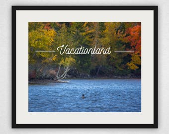 Loon and Foliage - Vacationland Design Wall Art and Canvas Print