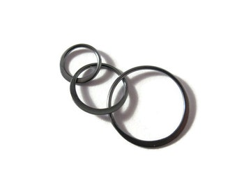 Black Circle Link, Sterling Silver Three Circle Link Dark Finish, Jewelry Connector, Triple Circle Link (Ch-2533)