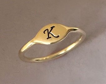 Initial Letter Ring in 14k Yellow Gold, Small Signet Pinky Ring