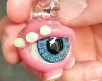 Bloodshot Eye Glass Pendant With Lid Accents
