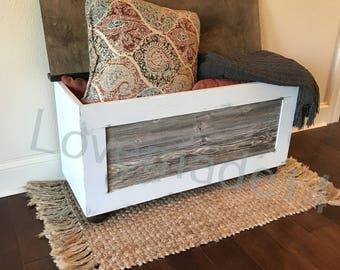 Bench, Shoe Bin, Shoe Storage, Storage Bench, Entryway, Farmhouse,  Distressed