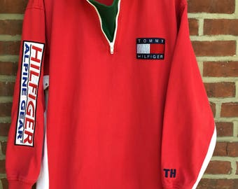 Vintage Tommy Hilfiger alpine gear long sleeve quarter zip rugby polo shirt sailing gear competition