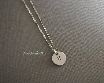 Little initial disc necklace, Silver initial necklace, Dainty initial necklace, Minimalist necklace, Personalized initial necklace