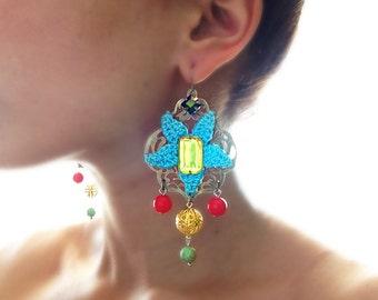 Boho-chic statement earrings, hippie earrings, gypsy summer earrings, bohemian