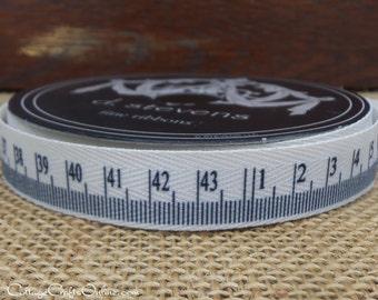 """Twill Ribbon, 5/8"""" wide, Measuring Tape Print - TEN YARD Roll - d. stevens, Twill Tape #82994 Scrapbook Craft Tape Measure Ribbon"""