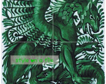 """Lovely Arts and Crafts William De Morgan Green Emerald Gothic Dragon & Beast 4 x 6"""" or 152mm ceramic tile mural mosaic wall art splash back"""