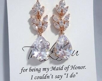Rose Gold Earrings, Maid of Honor Gift Earrings, Maid of Honor Gift, Dangle Earrings, Dangle Crystal Earrings, Rose Gold Bridesmaid Earrings