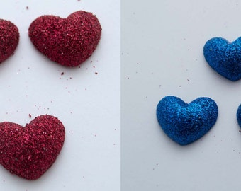 5 PC Glitter Hearts Shiny Resin Plastic Kawaii Decoden Kitsch Flatbacks Cabochons