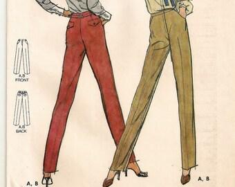 "A Straight Leg, Mock Fly, Belt Carrier, Proportioned Pants Pattern w/ Pocket/Flap Variations for Women: Size 10, Waist 25"" • Butterick 6899"