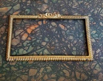Vintage Brass Picture Frame Small Petite With Fleur de Lis, Ornamental Metal Sign, Assemblage Art Suplies