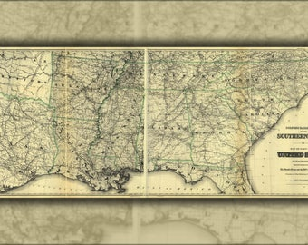 Poster, Many Sizes Available; Railroad Map Southern United States America 1883