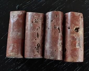 4 old African bauxite beads, vintage bauxite beads, 28-29 mm. x 11-12 mm. diameter