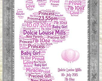 New Baby Gift, Christening, Baptism, Personalised Footprint Print, Birth Announcement, Baby Girl Gift, Baby Boy Gift