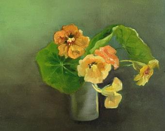 Nasturtiums I, Oil painting on mdf panel, 20x20cm
