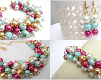 Hot Pink Aqua Mint White and Gold Pearl Beaded Jewelry Set, Necklace Bracelet Earrings, Cluster Jewelry, Wedding Set, Bridesmaids Gifts