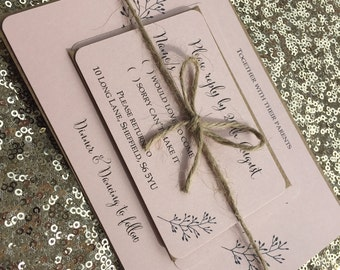 Vintage/Rustic 'Evelyn' wedding invitation/RSVP/Gift card SAMPLE- blush pink with kraft brown envelopes